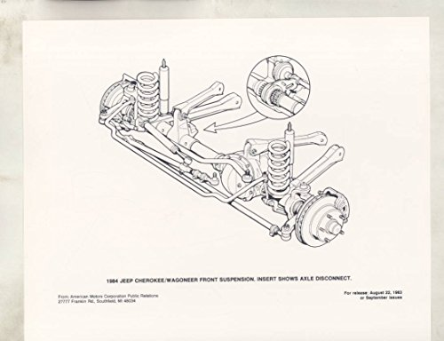 Cherokee Suspension (1984 Jeep Cherokee Wagoneer Front Suspension Parts ORIGINAL Factory Photo)