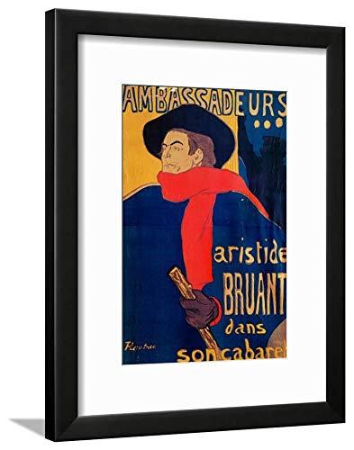 ArtEdge Aristide Bruant, Singer and Composer, at Les Ambassadeurs on The Champs Elysees, Paris, 1892 by Henri de Toulouse-Lautrec, Wall Art Framed Print, 16x12, Black Soft White Mat ()