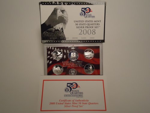 2008 United States Mint 50 State Quarters Silver Proof Set