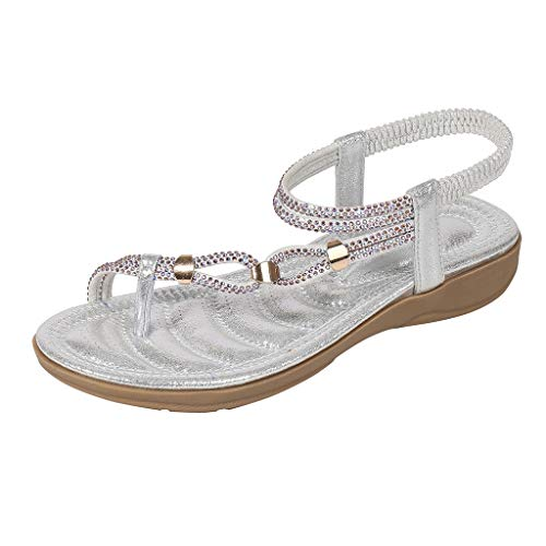 Bohemian Sandals Ladies Large Size Rhinestones Open Toe Beach Sandals Summer Fashion Flat Crystal Beach Slippers MEEYA - Womens Hearthside Slippers