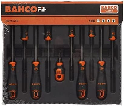 Bahco B219.010 10Piece Bahcofit Screwdriver Set Slotted//Phillips//Pozidriv//Robertson