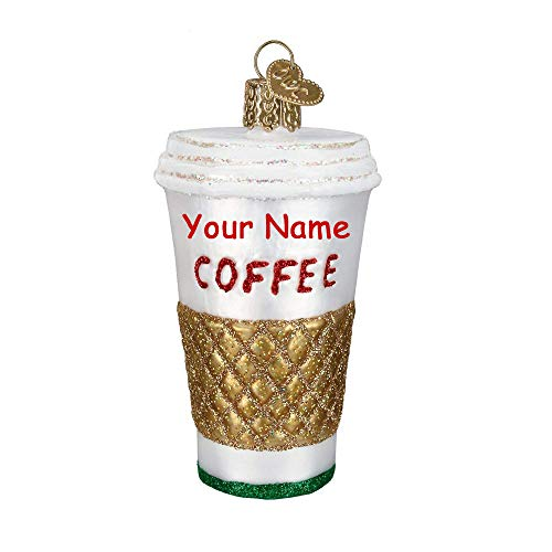 Personalized Coffee Cup Hot Drink Hanging Christmas Ornament Glittered Design with Custom Name (Frostys Ornament Favorite)