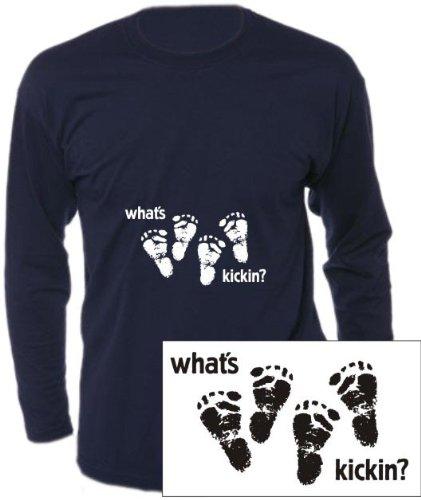 Langarm T-Shirt mit Druck WHATS KICKIN - DOUBLE (Farbe bottlegreen) (Größe M)