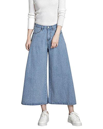 ZongSenA Pantalon Large Femme Jean Palazzo Pantalons Denim Grandes Tailles Pantacourt Bleu Clair