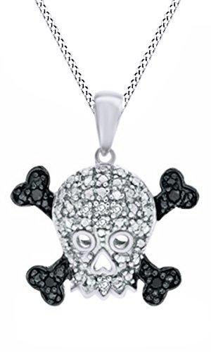 White Diamond Skull Pendant - Jewel Zone US Black White Natural Diamond Accent Skull Crossbones Pendant Necklace in 925 Sterling Silver