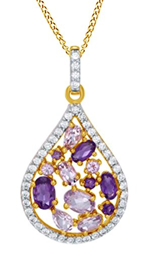 Jewel Zone US Multi Simulated Gemstone & White Sapphire Teardrop Pendant 14k Yellow Gold Over Sterling Silver ()