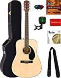 Fender CD-60S Solid Top Dreadnought Acoustic Guitar - Natural Bundle with Hard Case, Tuner, Strap, Strings, Picks, Austin Bazaar Instructional DVD, and Polishing Cloth