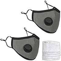 Reuseable Gray Face Mask With Breathing Valve Shipped from USA | PM2.5 Activated Carbon Filter Pocket | Adjustable Nose Bridge Wire and Earloops | Prevents Harmful Particles (2 Masks + 4 Filters)