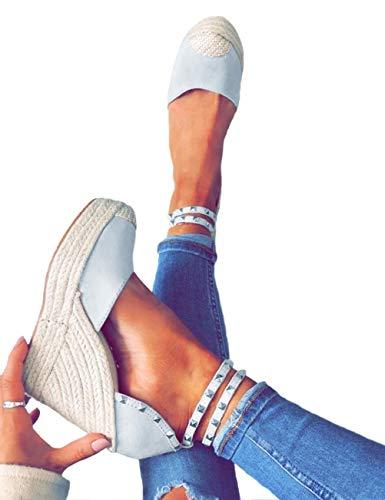 Eleganti Sexy High Zeppa Moda Minetom Benda Romani Casual Espadrillas Heels Sandali Donna Tacco Rivetto Blu Sandals Caviglia Estivo YYO6wIq