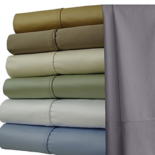 Solid Taupe Split Top King: Adjustable King Bed Size Sheets, 4PC Bed Sheet Set, 100% Cotton, 1000 Thread Count, Sateen weaving- Deep Pocket