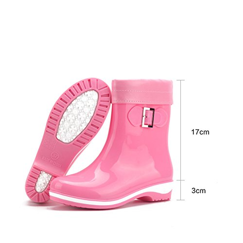 A Fall Keep Villus Toe Calf Round Flat Boots PVC Warm Boots Rain Plus Shoes Mid Boots Women's Heel Spring tpUqH