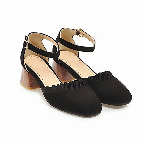 Carolbar Women's Solid Color Charm Block Mid Heel Square Toe Court Shoes Black 81rvZqRQM