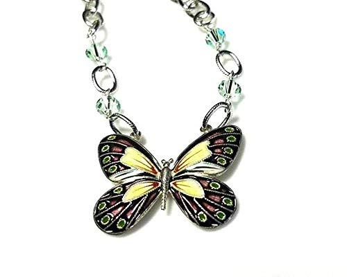 Multicolor Butterfly Cloisonne Sterling Silver Pendant Necklace with Pale Green Crystals and Oval Chain