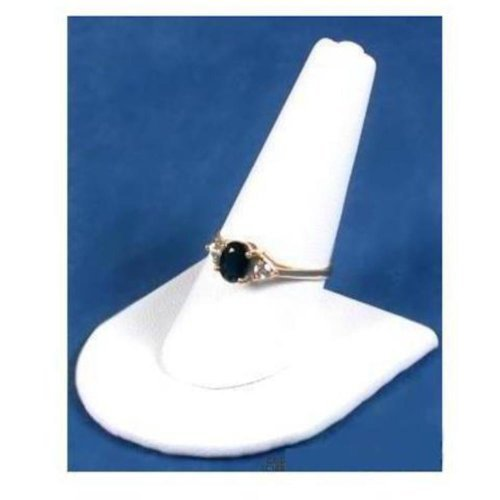 (White Leather Ring Finger Jewelry Holder Showcase Display Stand)