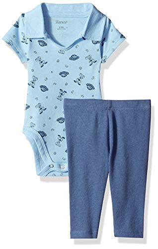 Hanes Ultimate Baby Boys Flexy 2 Piece Set (Pant with Short Sleeve Polo Bodysuit), Blue Space, 12-18M