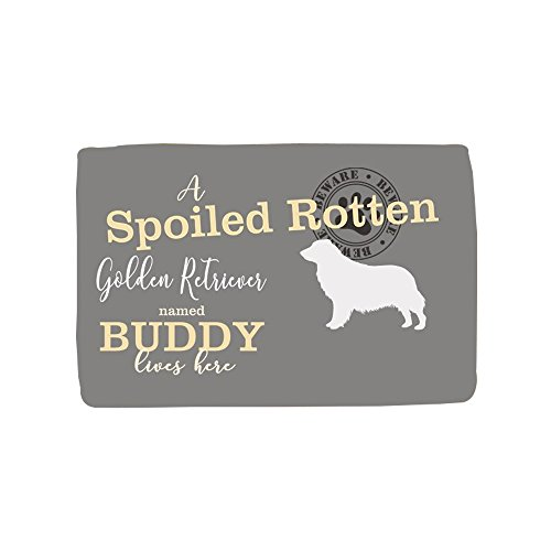 GiftsForYouNow Spoiled Rotten Dog Personalized Throw Blanket, Grey, Golden