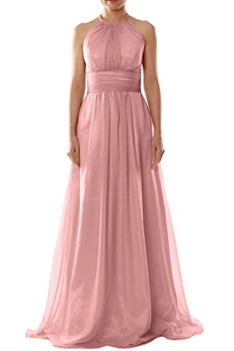 MACloth Women Halter Chiffon Long Bridesmaid Dress Wedding Party Evening Gown (EU38, Blanco)