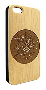 Genuine Maple Wood Organic Flower Pattern Peace Sign Snap-On Cover Hard Case for iPhone 6 Plus by heywan