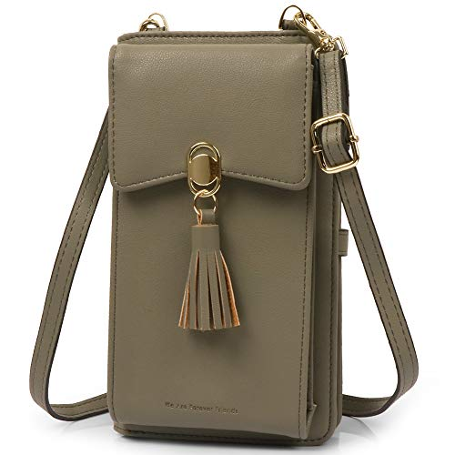 Women Rfid Blocking Credit Card Wallet Purse Cell Phone Crossbody Small Bag (Green)
