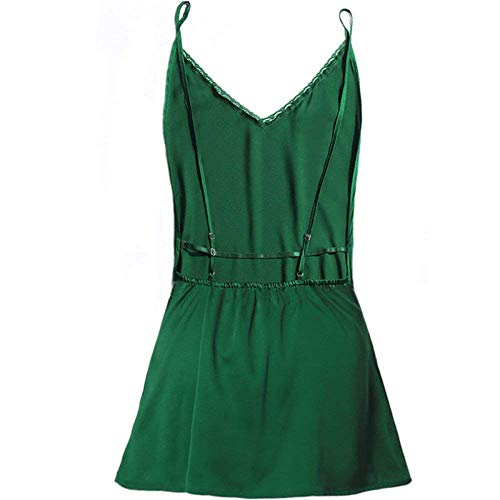 Pijama En Verde Backd Liga Bastante V Vestido Slim Espalda De Mangas Cinturón Sin Señora Camisón Cuello wqnH7CR