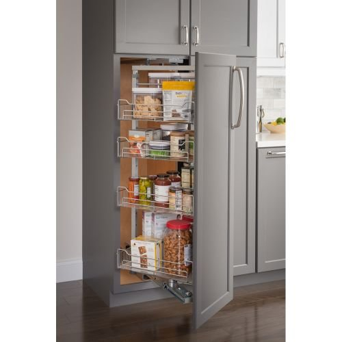 12'' Chrome wire pantry pullout with swingout feature with heavy-duty soft-close slides. by Hardware Resources
