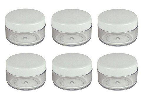 Art Trinket - 10g / 10ml Empty Plastic Cosmetic Bottles Jars Pot Case Container x 24 Clear with Screw Cap for Cosmetic Makeup Eye Shadow Nails Glitter Nail Art Powder Trinkets Jewellery Lip-Balm