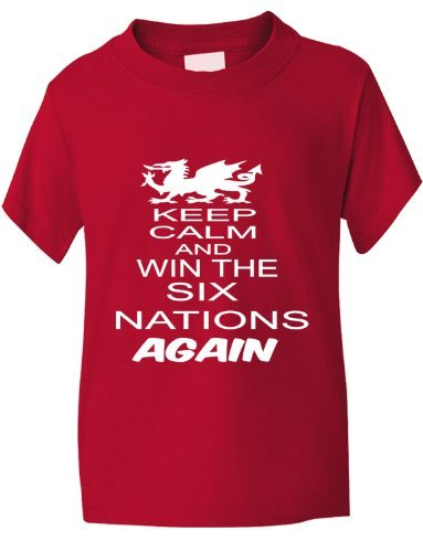 Print4U Rugby Wales Welsh Win 6 Nations Again World Cup Kids T-Shirt 9-11 Red Wales Rugby Six Nations
