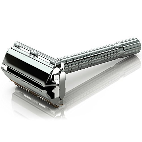 Jagen David ® B30 - Butterfly Double Edge Razor Safety Razor Fits All Double Edge Razor Blades unique Christmas gift for him (Silver)