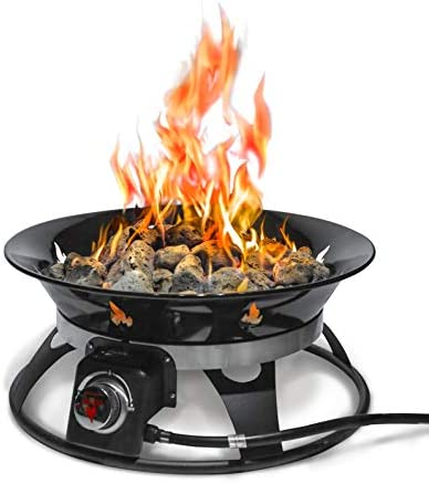 Outland Firebowl 863 Cypress Outdoor Portable Propane Gas Fire Pit with Cover Carry Kit, 21-Inch Diameter 58,000 BTU