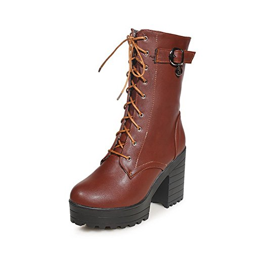 VogueZone009 Women's Solid PU Boots with Bandage and Chunky Heels, Brown, 43 ()