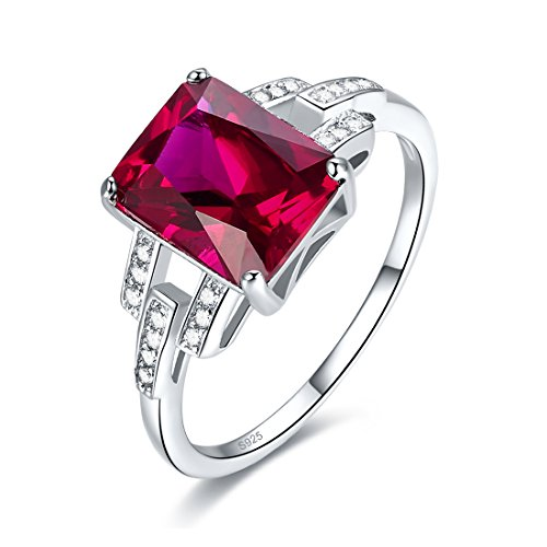 (Merthus 925 Sterling Silver Emerald Cut Synthetic Ruby Quartz Promise Ring for Her)