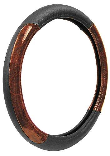 (Custom Accessories 35600 Black Genuine Leather Steering Wheel Cover with Woodgrain Design)