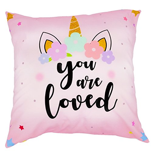 Arundeal 18 x 18 Inch Polyester Square Throw Pillow Cases Cushion Cover - You Are Loved - Unicorn In Pink