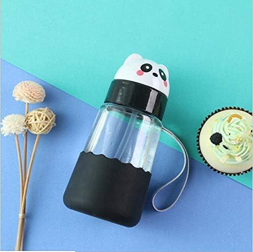 /étudiants Salle de Classe Gourde avec Paille en Verre Panda avec /étui de Protection pour Enfants sans BPA Petite Bouteille en Verre 350 ML Design pour Famille