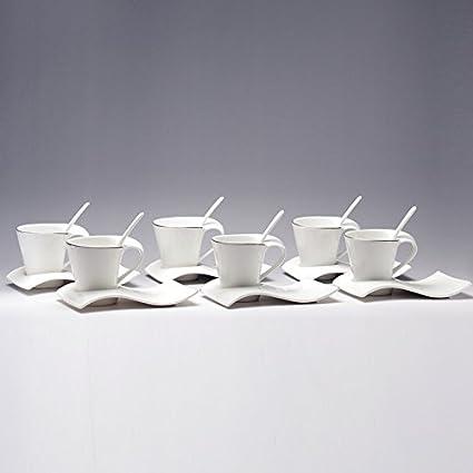 bbujsgh ondulado de porcelana cerámica taza de café 6 cucharadas de 6 tazas de café con