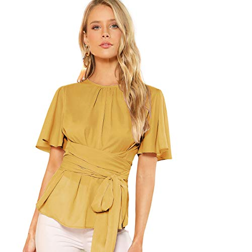 ie Wist Short Sleeve Casual Chiffon Blouse Tops Yellow X-Large ()