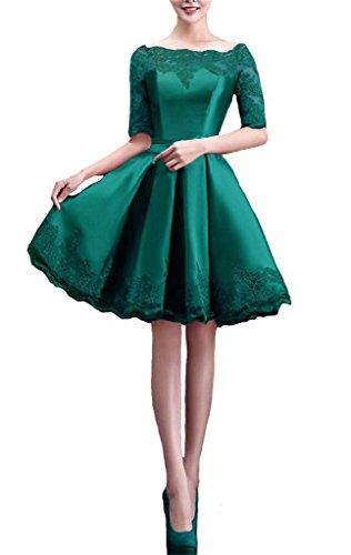 Shiningdress Women's Elegant Applique Boat Neck Satin Short Party Prom Dress Size 8 Green
