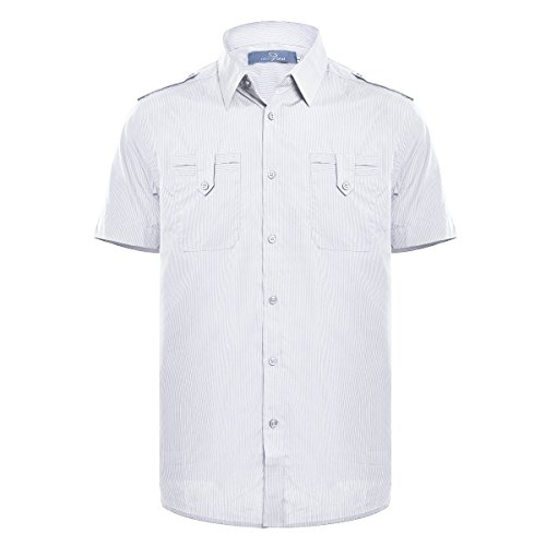 Henoo Mens Dress Shirt Short Sleeve Loose Fit with Solid Button Down Collar, 100% Cotton