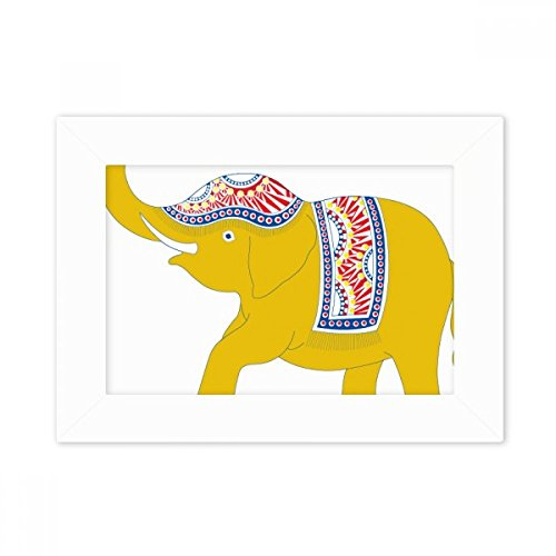 DIYthinker Thailand Yellow Elephant Shield Desktop Photo Frame White Picture Art Painting 5x7 inch by DIYthinker
