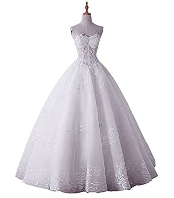 Tobeauty Sweetheart Applique Lace Wedding Dresses 2017 Beading Sequined Bride Dress Ball Gown For Bride Ivory US24W