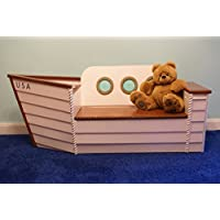 Wooden boat toy chest, Toy box for storage Ship bench Handcrafted furniture, kids furniture, chair, Toy organizer, Nautical decor chest, Nautical nursery Bench,