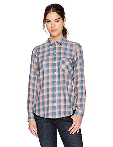 (William Rast Women's Dakota Convertible Button Front Shirt, Lobster Bisque go west Plaid,)