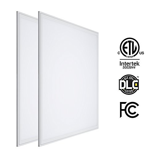 LTMATE 2x2FT 40W 5000K Cool White, Ultra Thin LED Flat Panel Light, Drop Ceiling Light, Edge-Lit, 4400 Lumens, 0-10V Dimmable, White Frame, No Flicker, DLC-Qualified, 2x2 5000K, 2pack by LTMATE (Image #1)