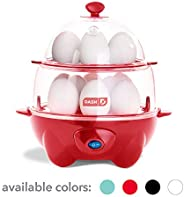 Dash DEC012RD Deluxe Rapid Cooker Electric for Hard Boiled, Poached, Scrambled Eggs, Omelets, Steamed Vegetables, Seafood, D