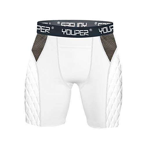 Youper Adult Elite Padded Sliding Shorts, Compression Slider Shorts w/Soft Athletic Cup for Baseball, Football, Lacrosse, Hockey, MMA (White (No Cup), Adult - Large)