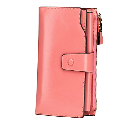 (Itslife Women's RFID Blocking Large Capacity Luxury Wax Genuine Leather Cluth Wallet Ladies Card Holder (Pink RB))