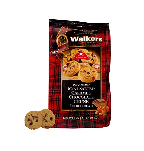 Walkers Shortbread Mini Salted Caramel Chocolate Chunk Shortbread, Traditional Pure Butter Shortbread Cookies with Caramel and Chocolate, 4.4-Ounce Bags (6 Bags)