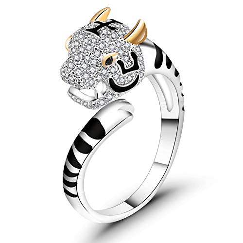ATDMEI Tiger Rings Sterling Silver Gifts for Women Gold Zircon Cuff Adjustable Chinese Zodiac Jewelry Gifts