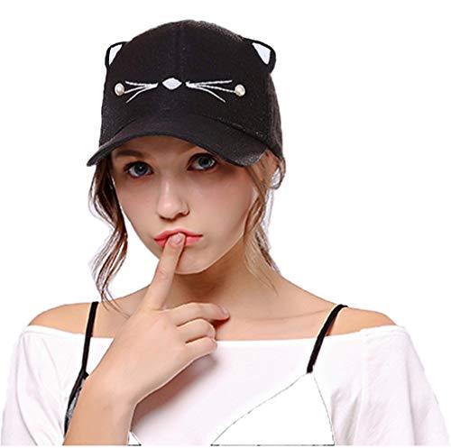 Women Adjustable Cat Ears Cap Lovely Baseball Sun Hats Black]()