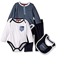 7 For All Mankind Baby Boys 4 Piece Set, Signature 7Fam Heather Steel Blue, 18M